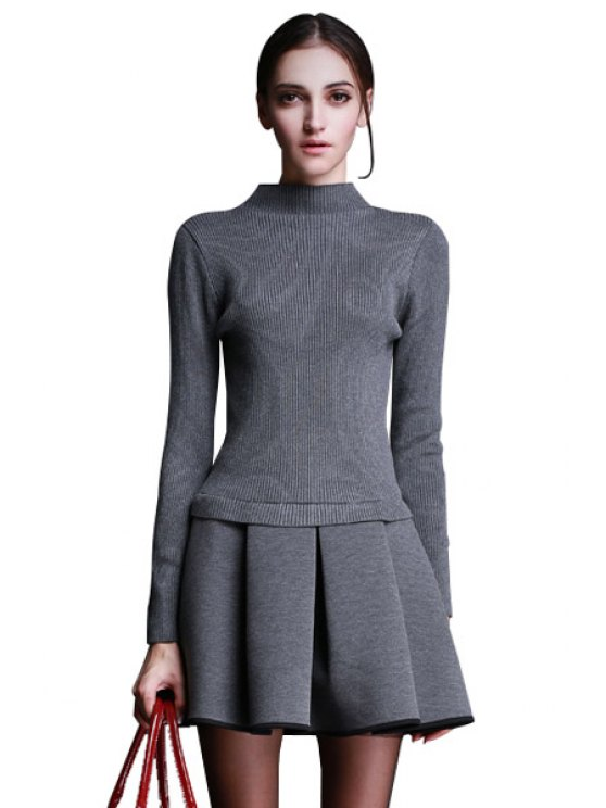 women's Turtle Neck Solid Color Splicing Dress - GRAY S