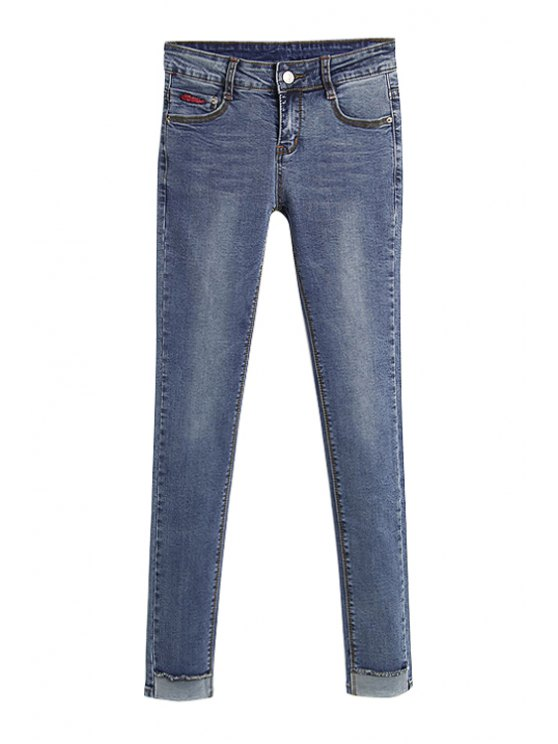 womens Solid Color Elasticity Jeans - ICE BLUE 26