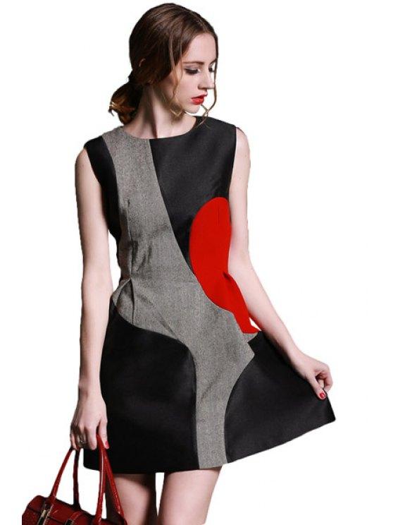 fancy Splicing Color Block Sleeveless Dress - COLORMIX S