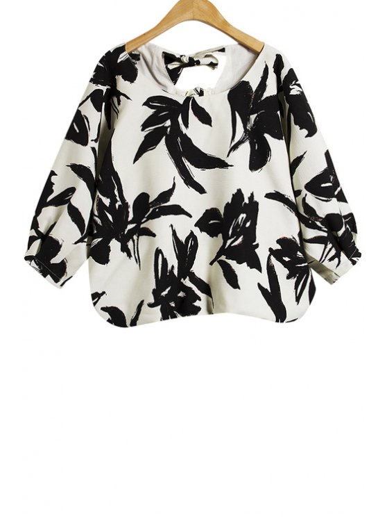 outfit Floral Print Half Sleeves Blouse - WHITE AND BLACK S