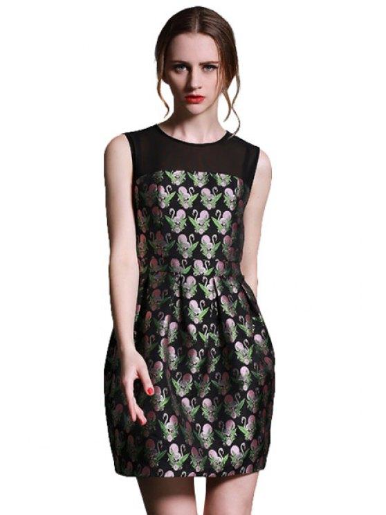 new Voile Splicing Swan Print Dress - BLACK S