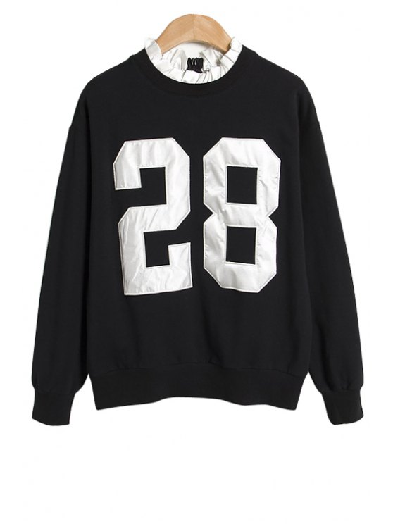 trendy Number Pattern Sweatshirt - BLACK ONE SIZE(FIT SIZE XS TO M)