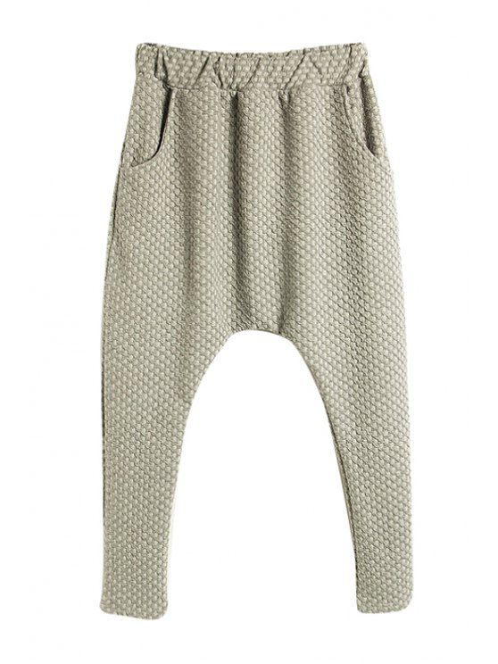 fashion Solid Color Harem Pants - GRAY ONE SIZE(FIT SIZE XS TO M)