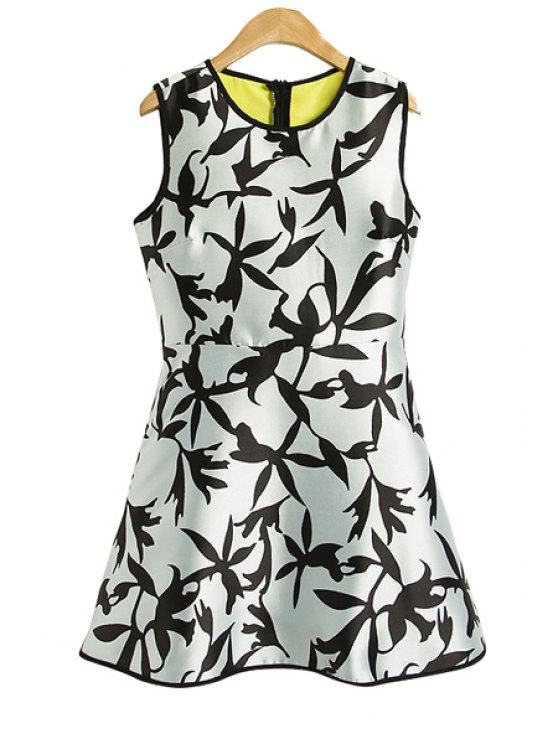best Floral Print A-Line Sundress - WHITE AND BLACK S