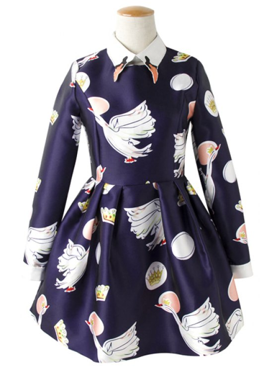 affordable Polo Collar Swan Print Dress - BLUE S