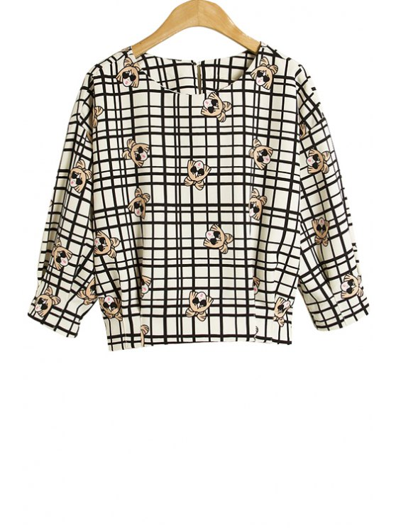 fashion Checked Cartoon Print Blouse - CHECKED S