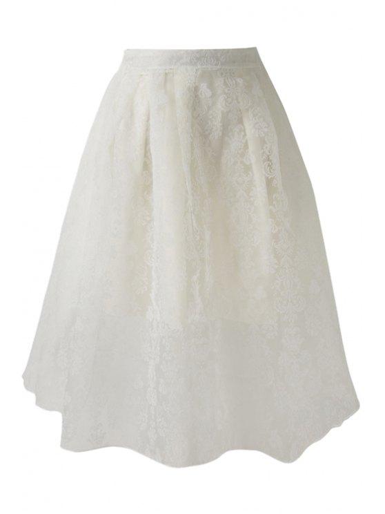 women Voile Floral Pattern Zipper Fly Skirt - WHITE S