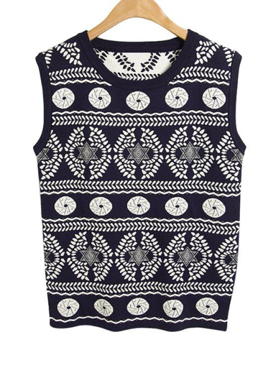 shop Geometric Pattern Sleeveless Knitwear - PURPLISH BLUE ONE SIZE(FIT SIZE XS TO M)