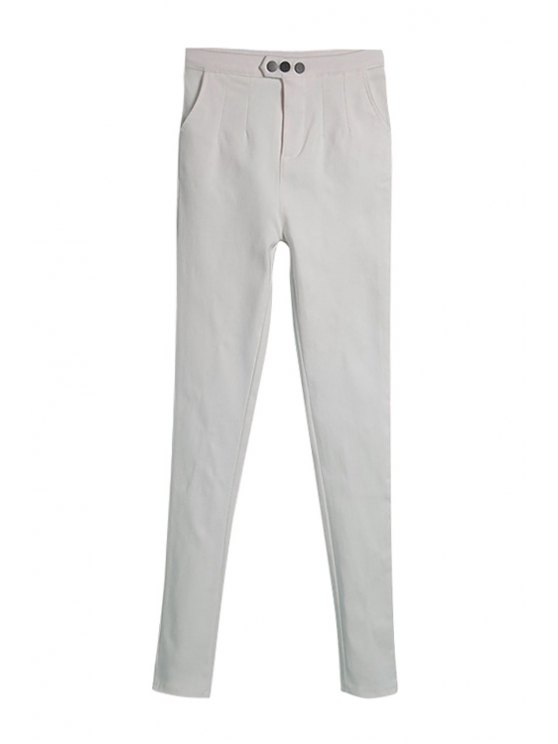 lady White Narrow Feet Pants - WHITE M