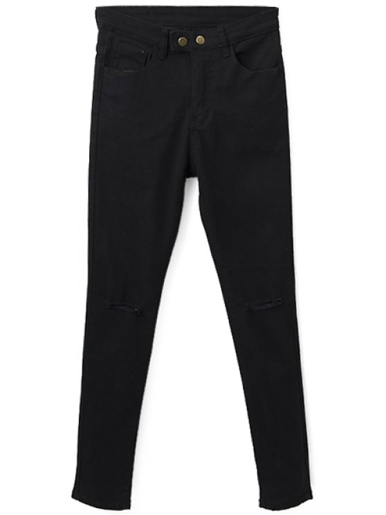 ladies Hole Two Buttons Zipper Fly Jeans - BLACK S