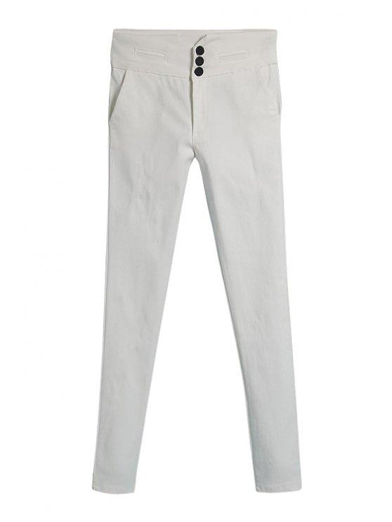 latest White Skinny Elasticity Pants - WHITE M