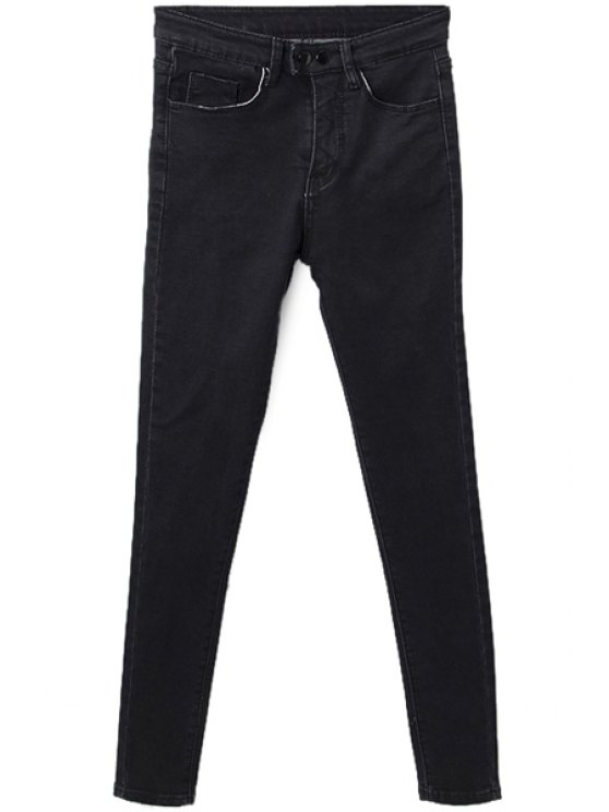 outfit Solid Color Two Buttons Jeans - BLACK S