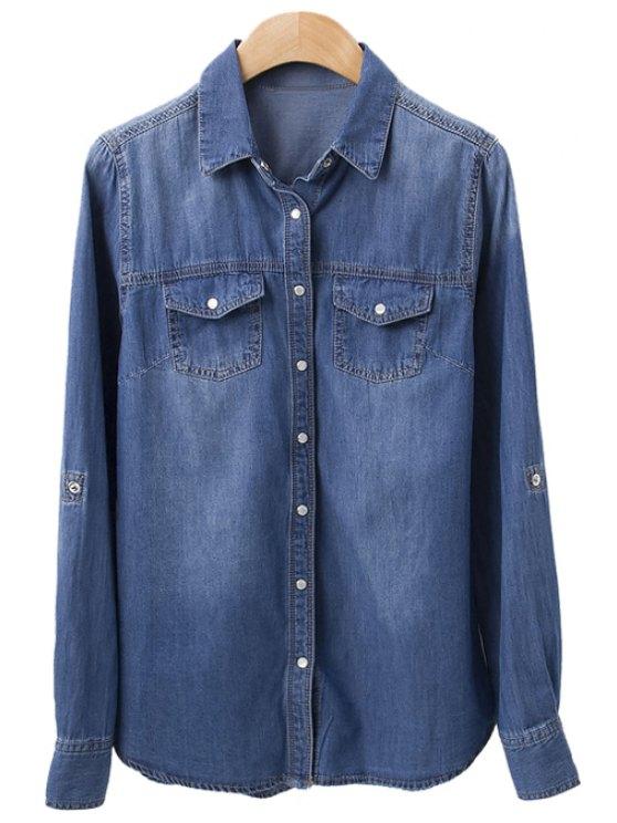 sale Bleach Wash Pockets Denim Shirt - DEEP BLUE S