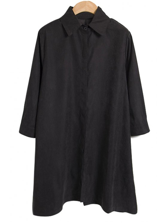 affordable Shirt Collar Solid Color Dress - BLACK L