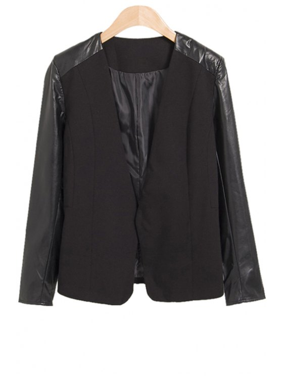 chic Faux Leather Splicing Blazer - BLACK S