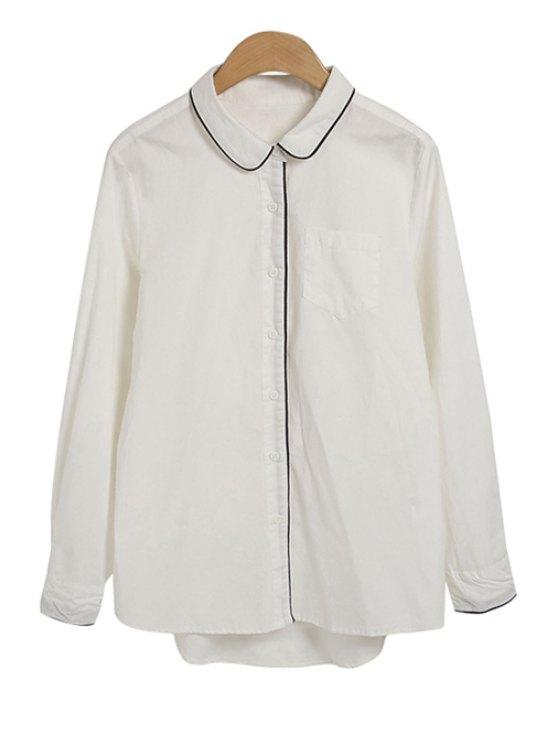 lady Turn-Down Collar Asymmetrical Shirt - WHITE M