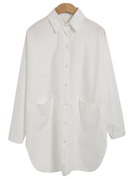 new Solid Color Loose-Fitting Shirt - AS THE PICTURE ONE SIZE(FIT SIZE XS TO M)
