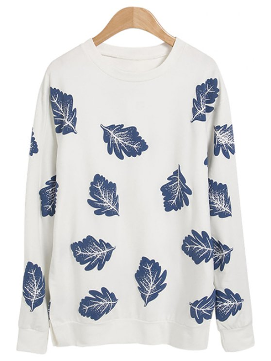 latest Leaves Print Long Sleeve Sweatshirt - WHITE ONE SIZE(FIT SIZE XS TO M)
