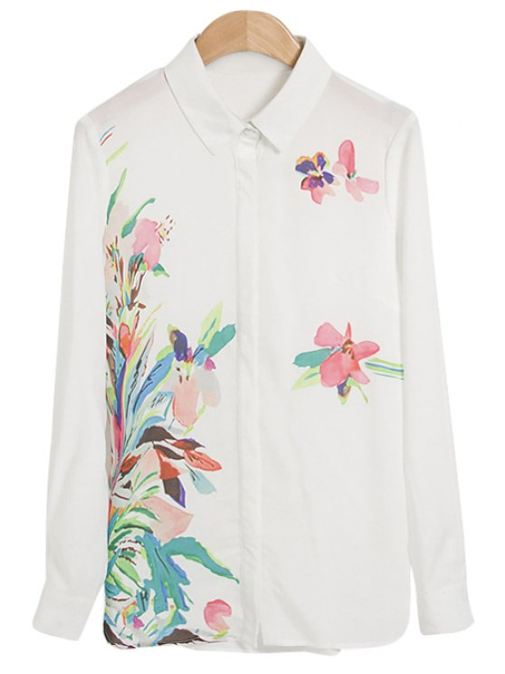 outfit Colorful Floral Print Long Sleeve Shirt - WHITE M