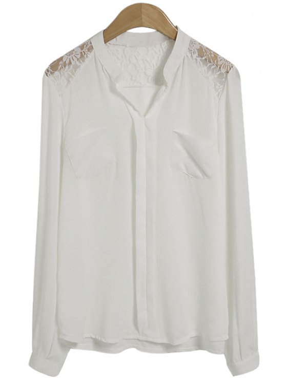 affordable Lace Splicing Pocket Long Sleeve Shirt - WHITE S