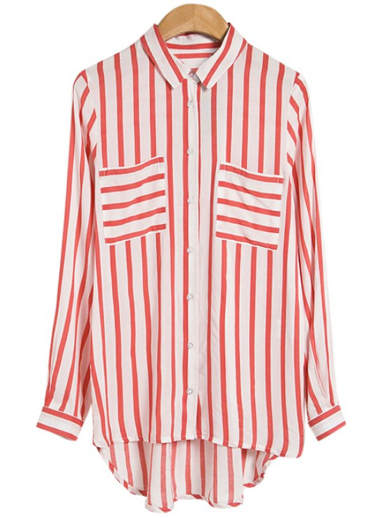 outfits Stripe Long Sleeve Shirt - RED WITH WHITE S