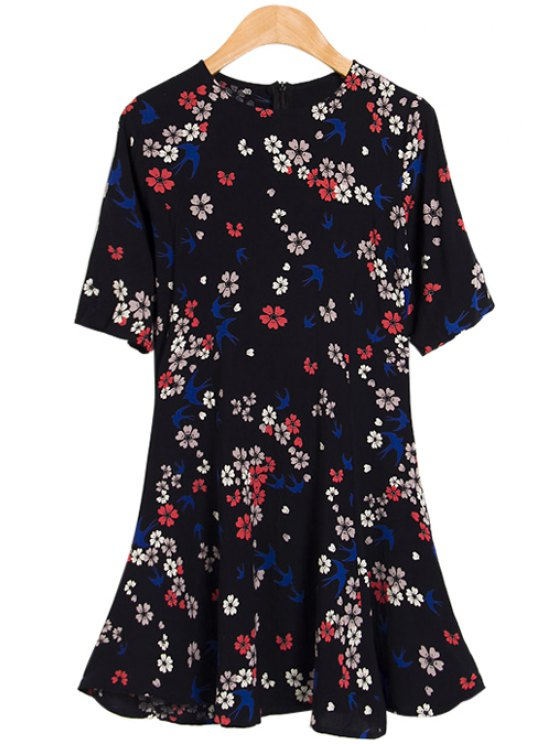 outfit Floral and Swallow Print Dress - COLORMIX S