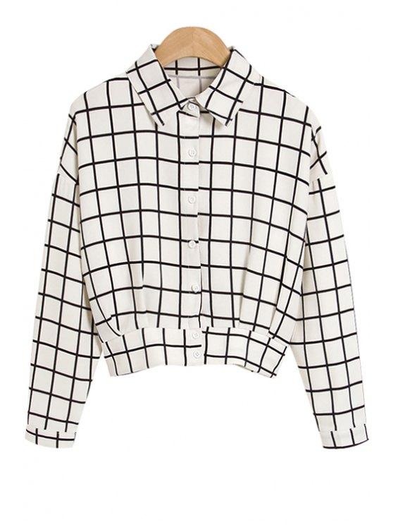 chic Polo Collar Color Block Plaid Shirt - WHITE S