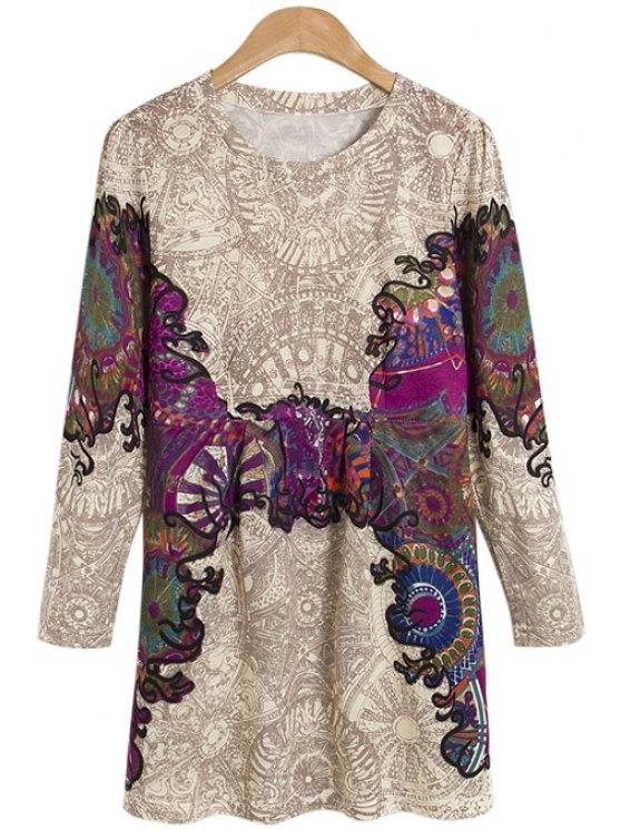 trendy Print Faux Pearl Long Sleeve Dress - COLORMIX S