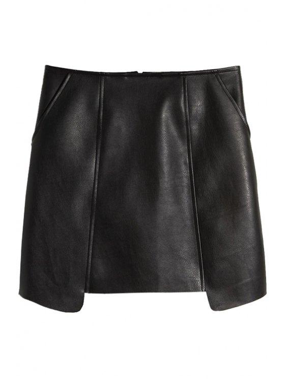 latest PU Leather Asymmetrical Skirt - BLACK S