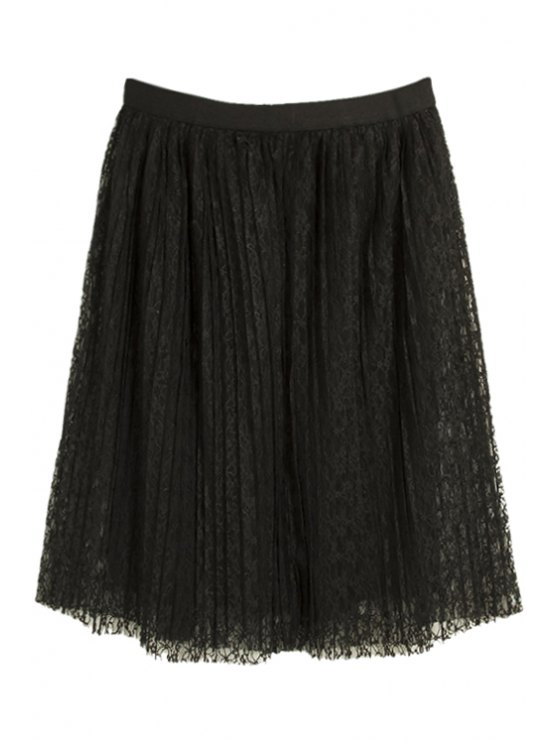 womens Lace Voile Pleated Skirt - BLACK M