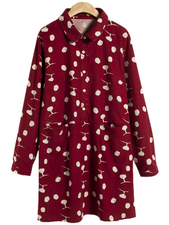 women Turn-Down Collar Polka Dot Dress - WINE RED ONE SIZE(FIT SIZE XS TO M)