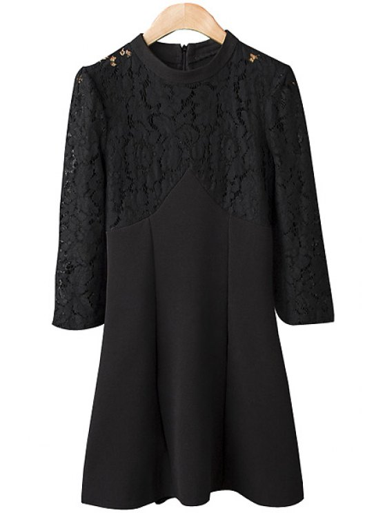 fancy Round Neck Lace Splicing Dress - BLACK S