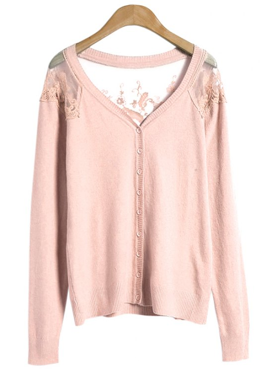 hot Solid Color Lace Splicing Cardigan - PINK ONE SIZE(FIT SIZE XS TO M)