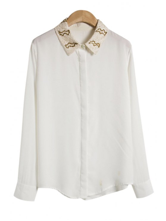 chic Colorful Bead Long Sleeve Shirt - WHITE ONE SIZE(FIT SIZE XS TO M)