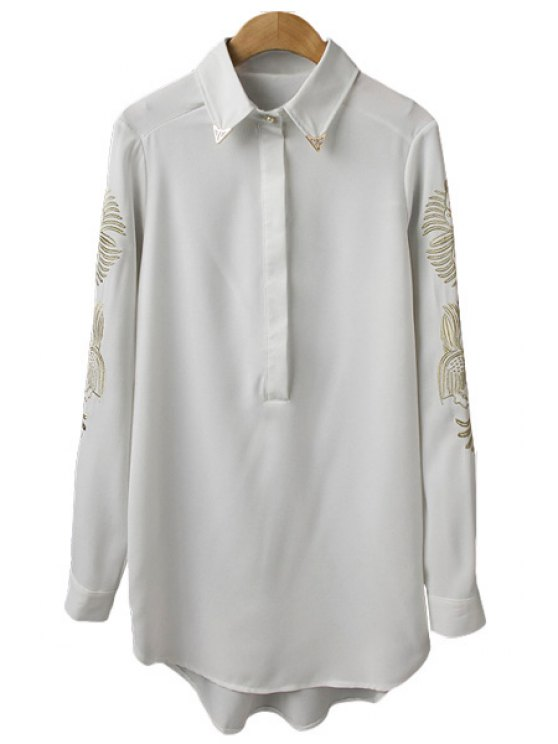 best Golden Embroidery Shirt - WHITE S