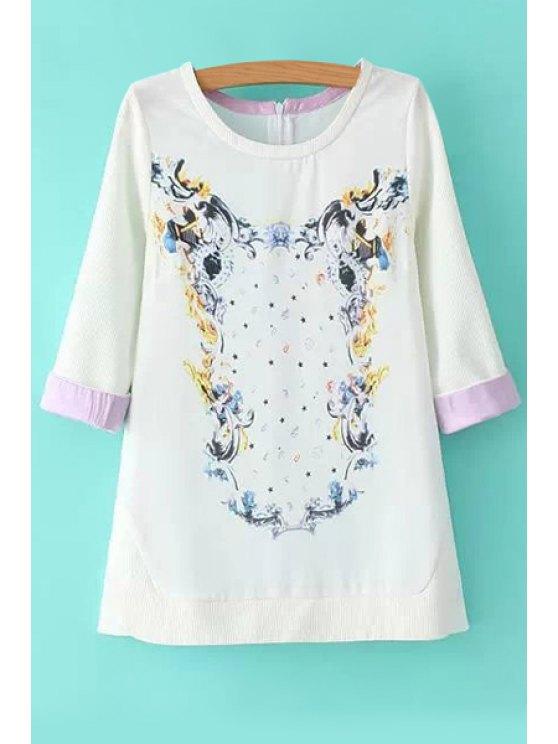 sale Floral Print Half Sleeve Sweatshirt - WHITE S