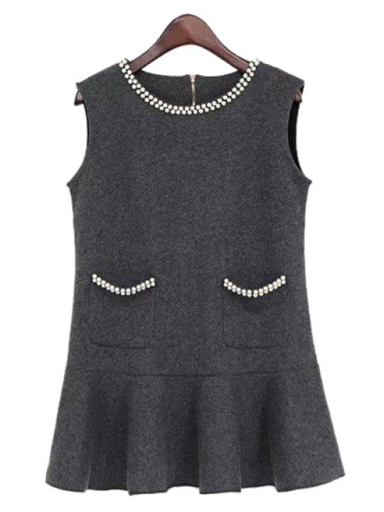 women's Faux Pearl Pockets Sleeveless Dress - GRAY M