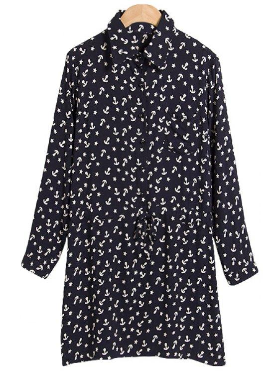 women's Tiny Star Print Shirt Collar Dress - BLACK M