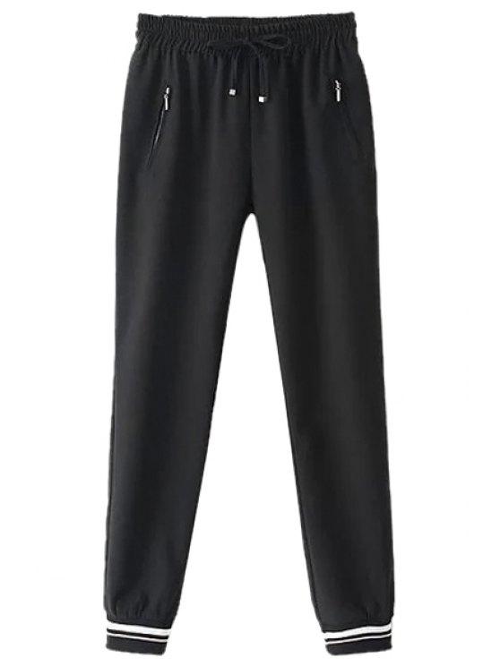 trendy Tie-Up Elastic Waist Pants - BLACK S