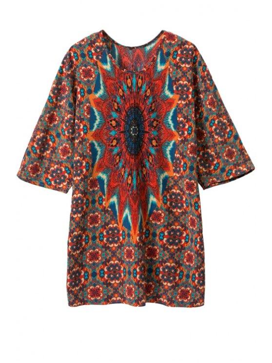 women Print Color Block Half Sleeve Dress - RED S