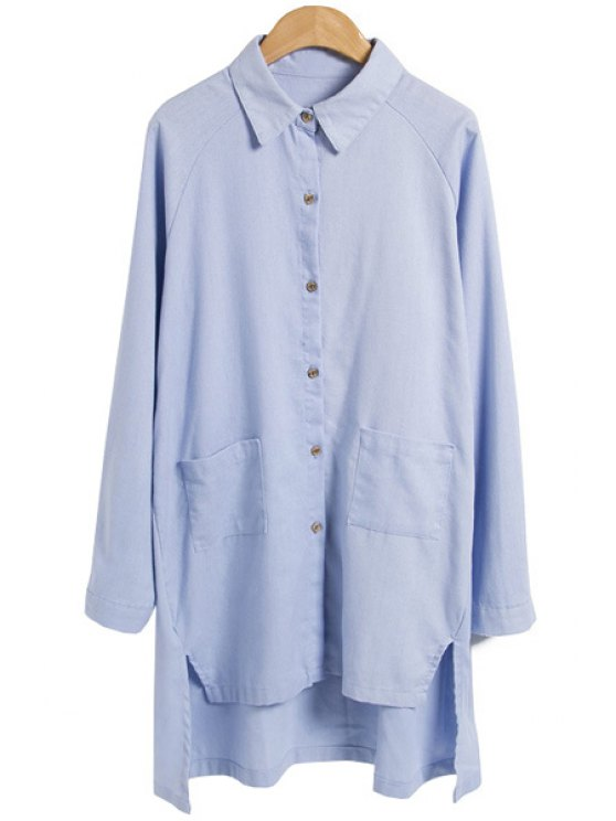 chic Solid Color High-Low Hem Shirt - AZURE M
