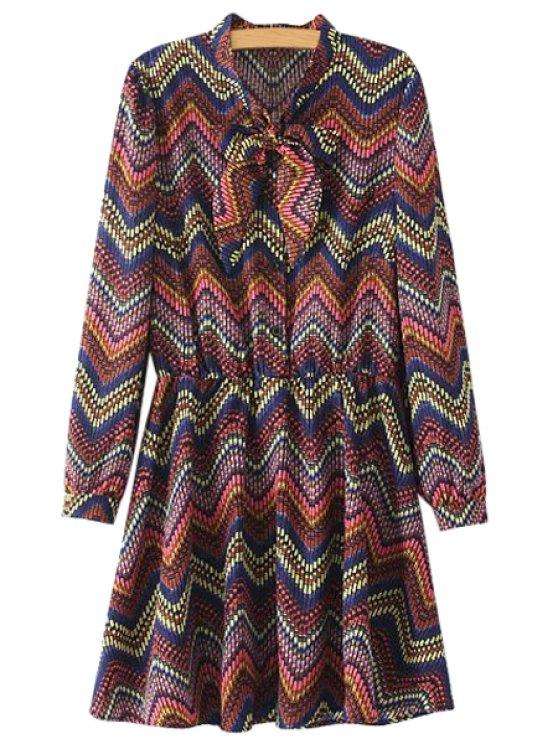 lady Colorful Stripe Bowknot Dress - COLORMIX S