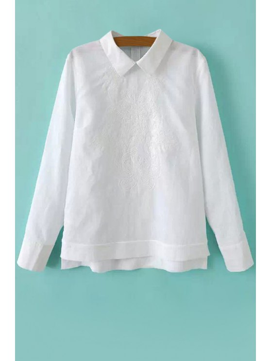 womens Solid Color Asymmetrical Embroidery Shirt - WHITE S