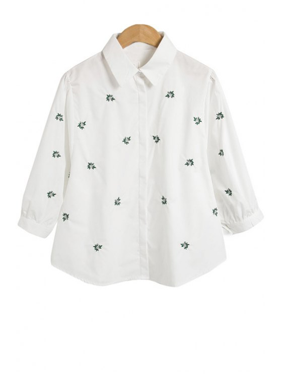 women's Floral Embroidery Half Sleeve Shirt - WHITE M