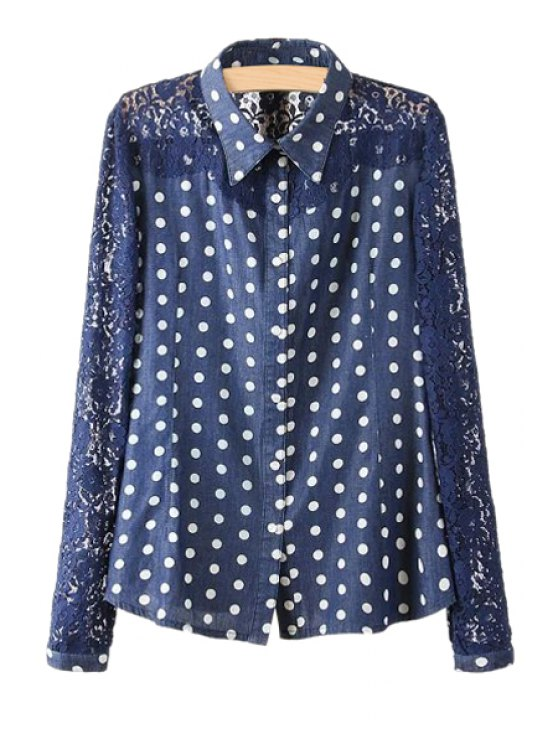latest Polka Dot Lace Splicing Denim Shirt - BLUE S