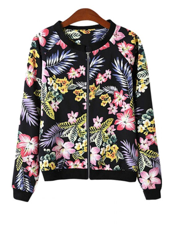 outfit Colorful Floral Print Long Sleeve Coat - BLACK S