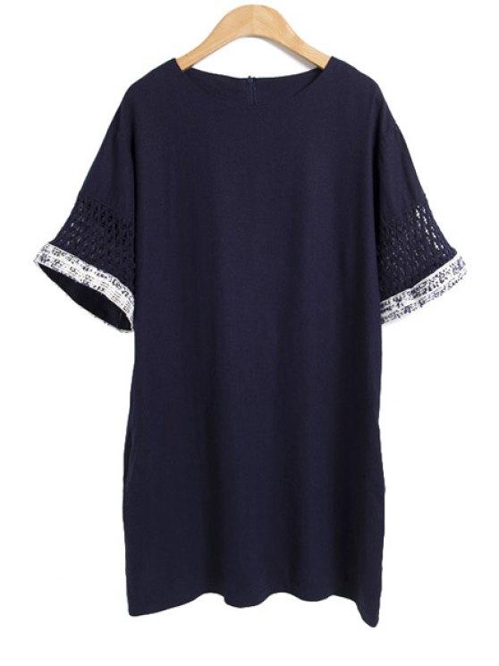 shop Solid Color Short Sleeve Linen Dress - PURPLISH BLUE M