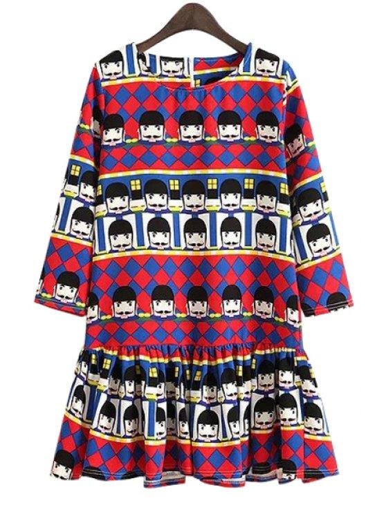 lady Cartoon Figure Print Color Block Dress - RED S