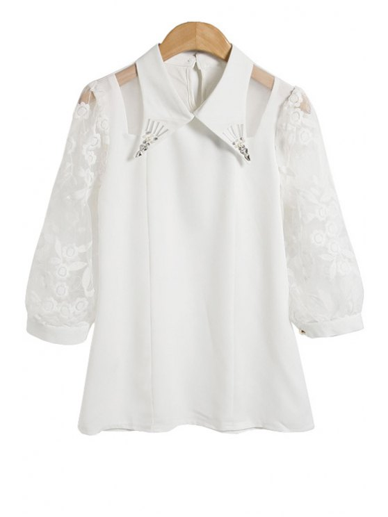 online Floral Embroidery 3/4 Sleeve Blouse - WHITE M