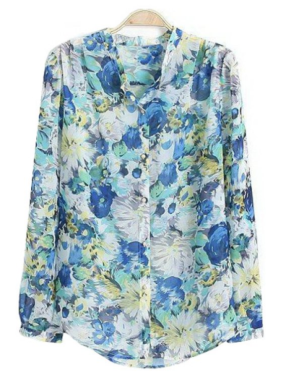 fancy Stand-Up Collar Floral Print Shirt - BLUE S